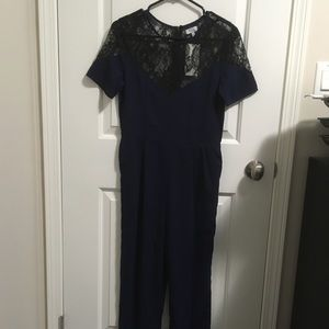 Tobi Lace Navy Jumpsuit